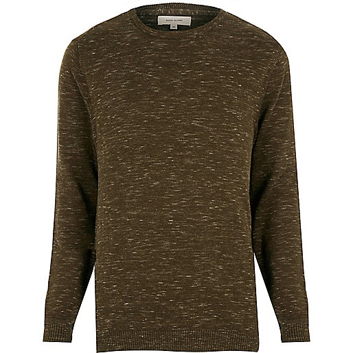 Khaki green melange sweater