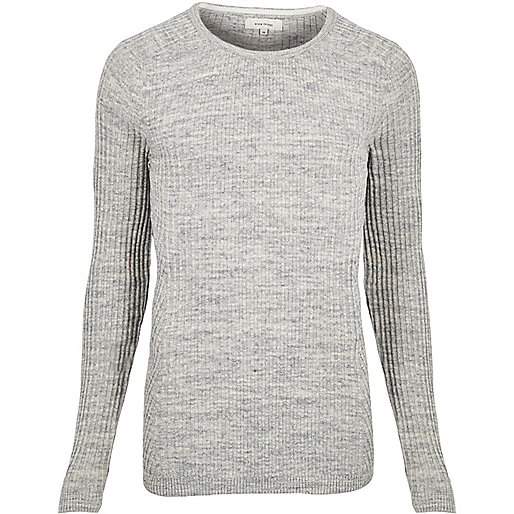 Grey space dye ribbed sweater