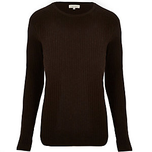 Brown ribbed sweater