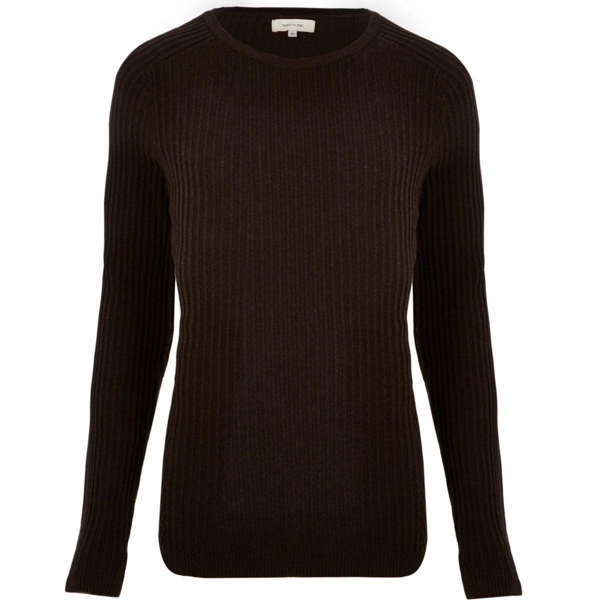 Brown ribbed jumper
