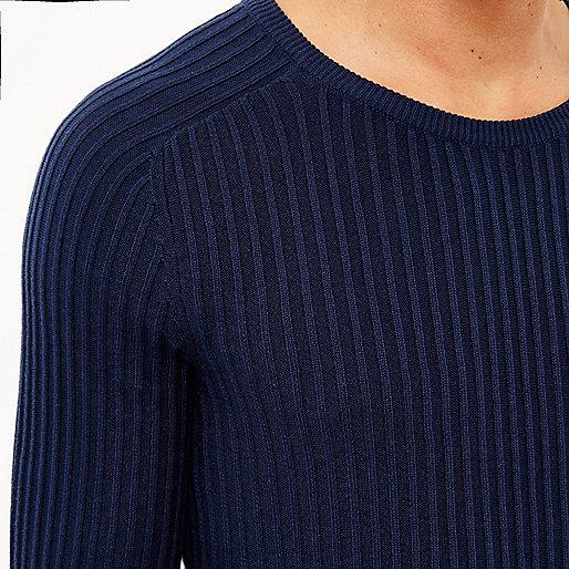 Navy blue ribbed jumper