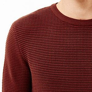 Rust brown waffle long sleeve T-shirt