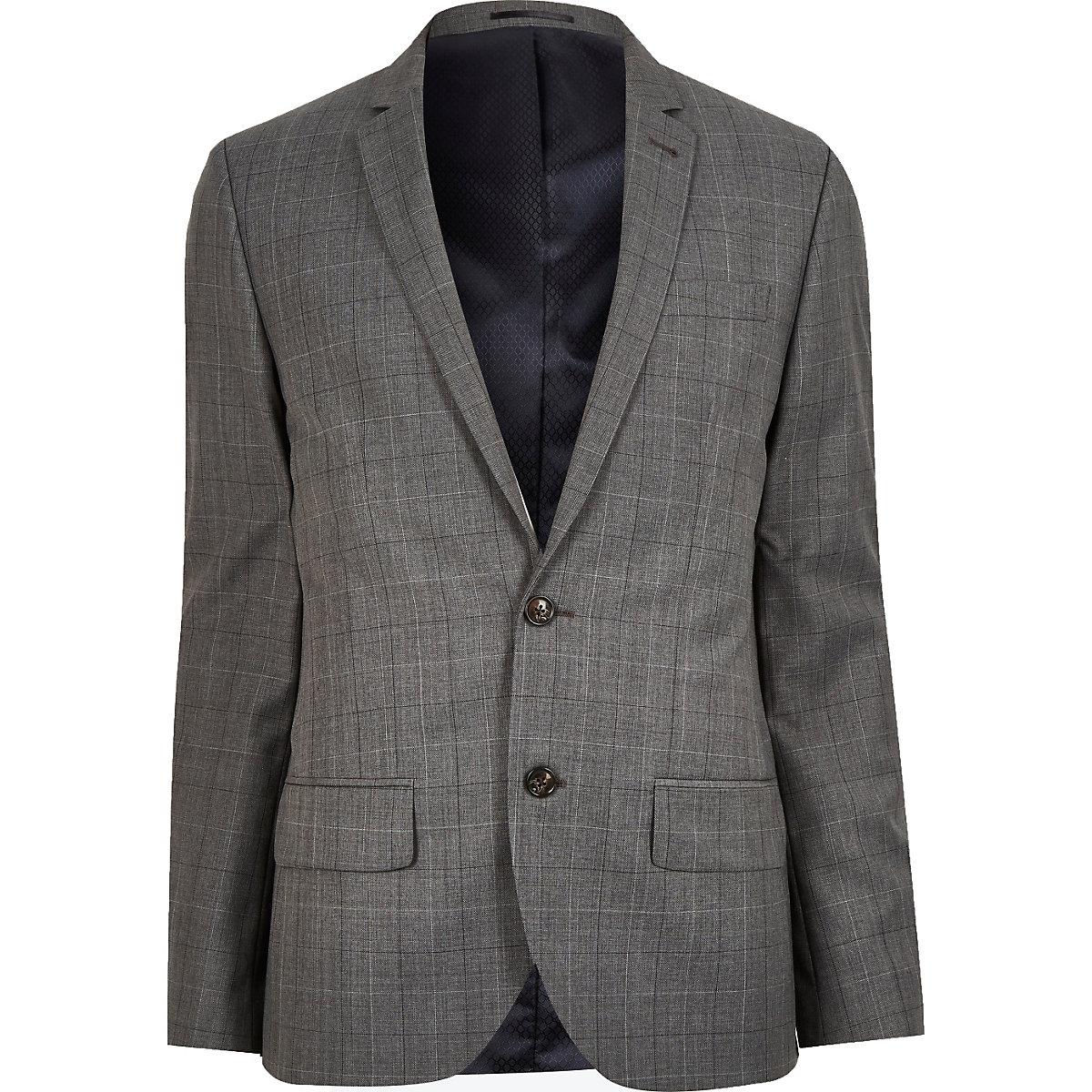 Grey check wool-blend slim jacket