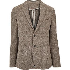 Brown brushed wool-blend slim blazer