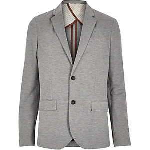 Light grey jersey slim blazer