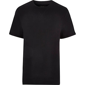 Black rolled up short sleeve sweatshirt