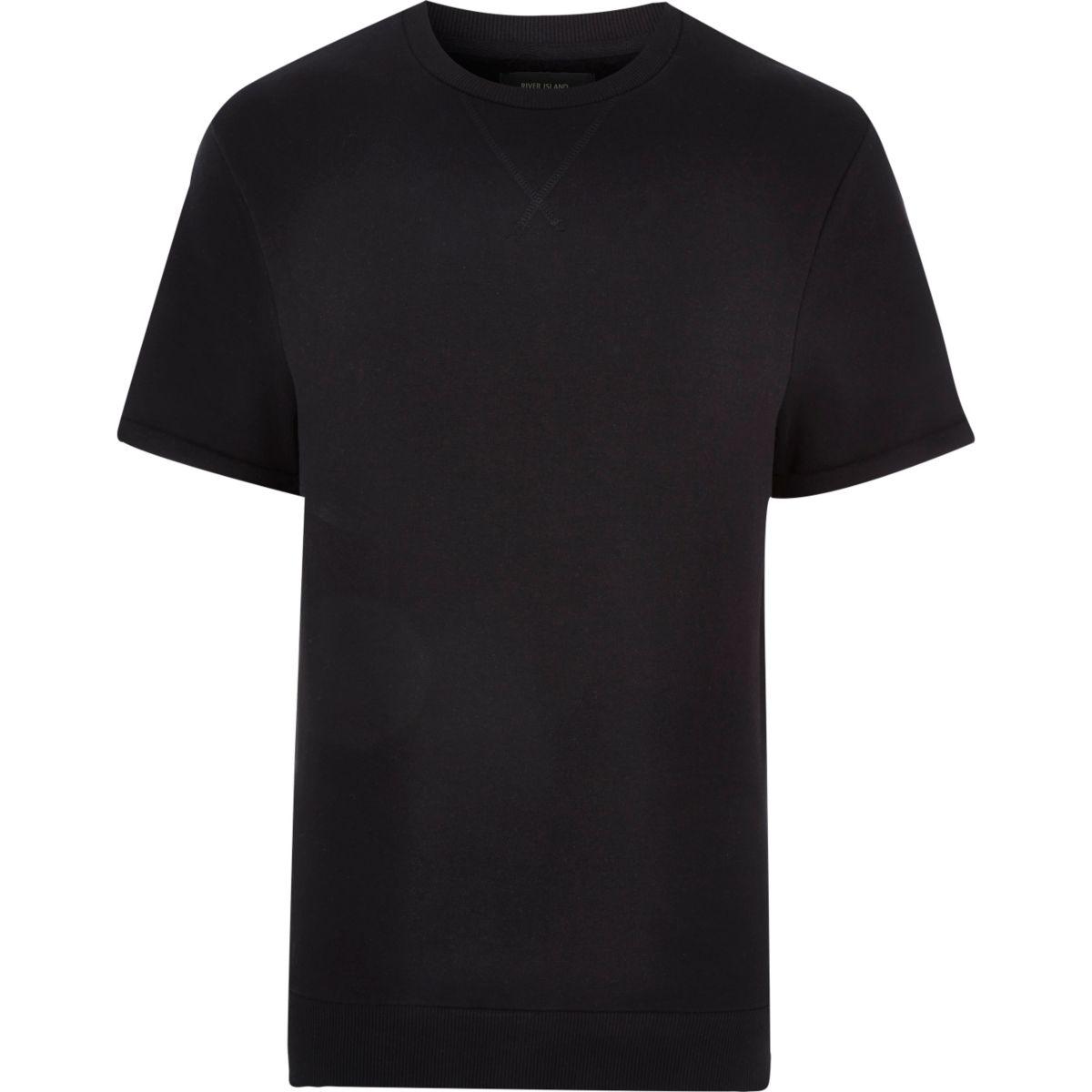 Black turn up short sleeve sweatshirt