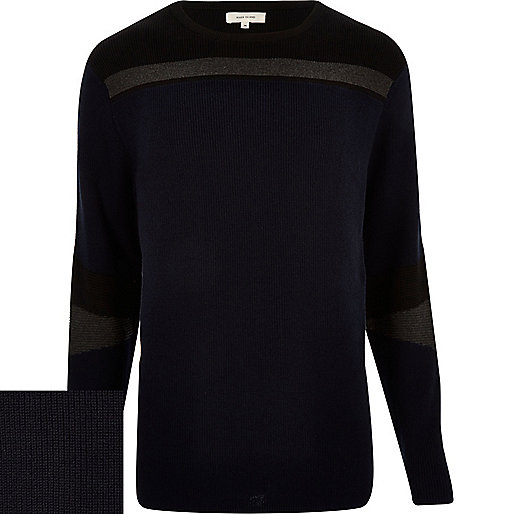 Navy blue color block sweater