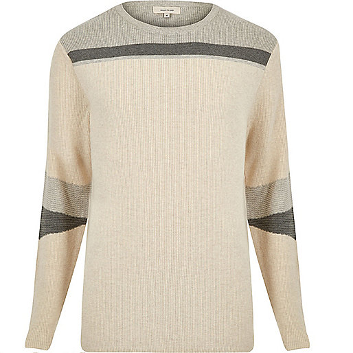 Ecru color block sweater