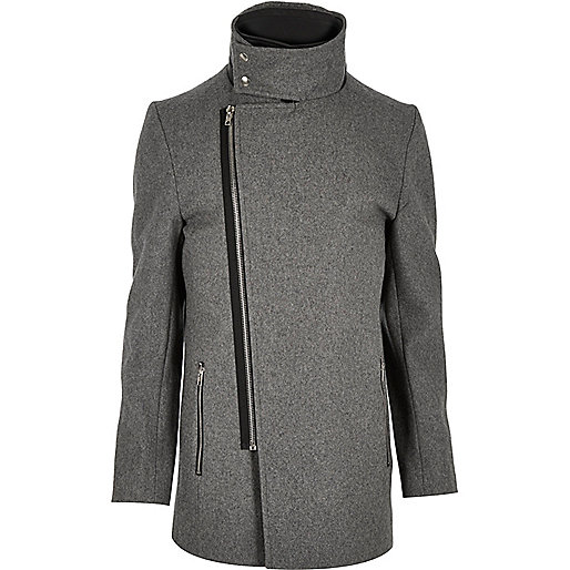 Grey wool-blend funnel neck jacket