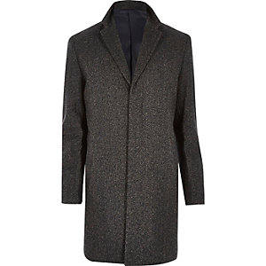 Dark brown herringbone wool-blend coat