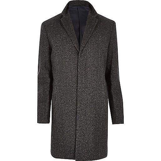 Dark brown herringbone wool-blend coat