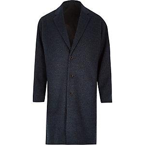 Blue smart wool-blend overcoat