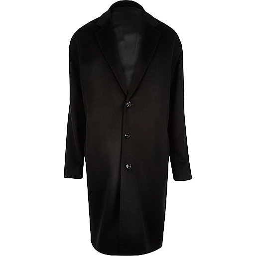 Black smart wool-blend overcoat
