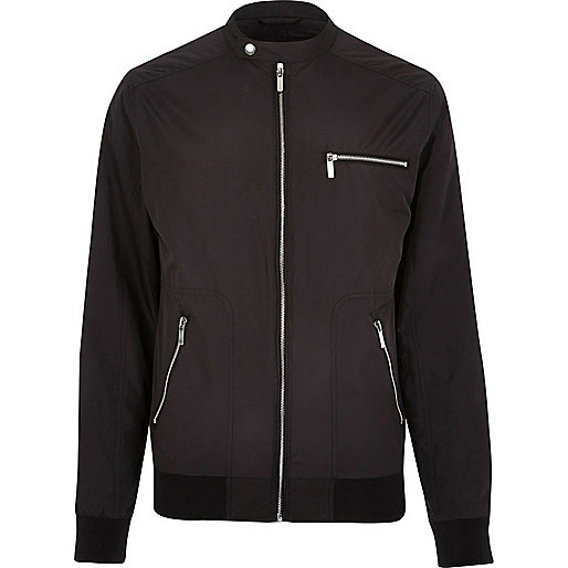 Black popper collar racer jacket