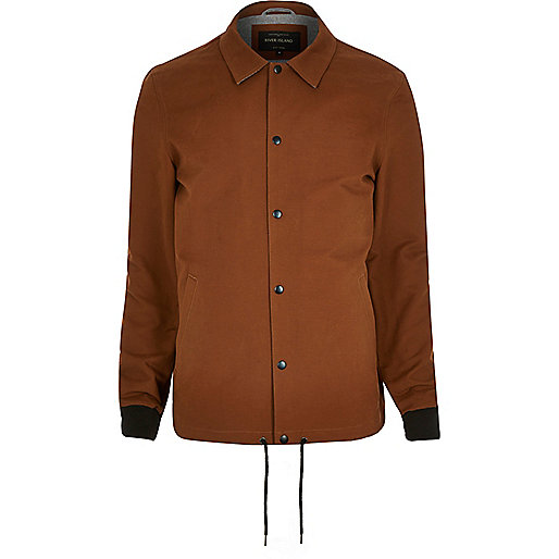 Rust brown casual coach jacket