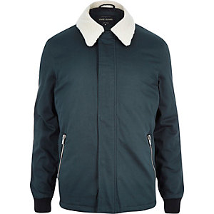Dark turquoise fleece coach jacket