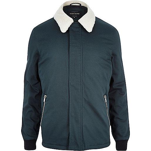 Dark turquoise borg coach jacket