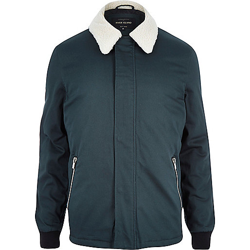 Dark turquoise fleece coach jacket