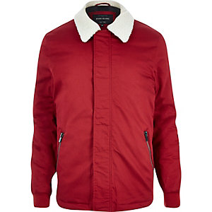 Red fleece coach jacket