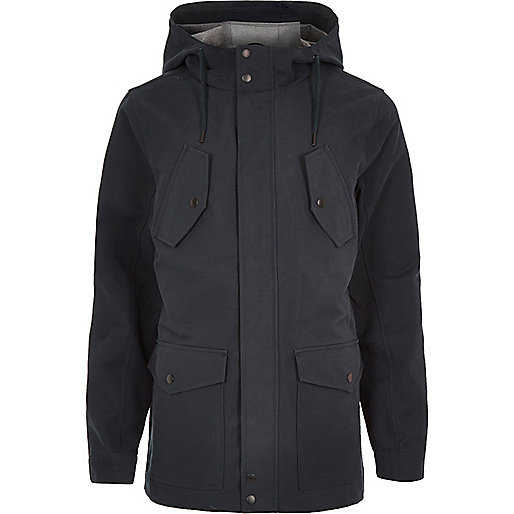 Navy hooded casual jacket