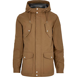 Brown hooded casual jacket
