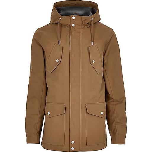 Brown hooded casual jacket