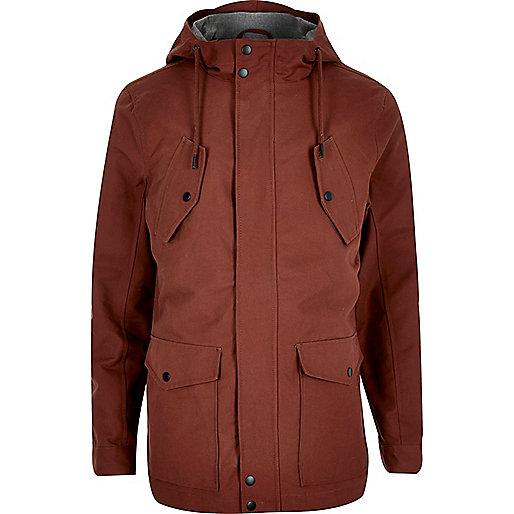 Rust brown hooded casual jacket