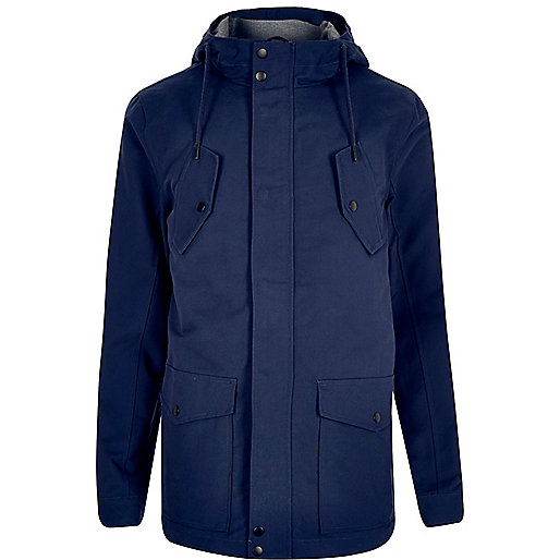 Blue hooded casual jacket