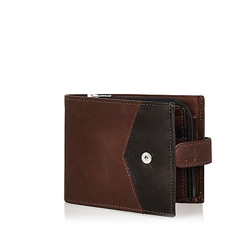 Portefeuille colour block motif chevrons en cuir marron