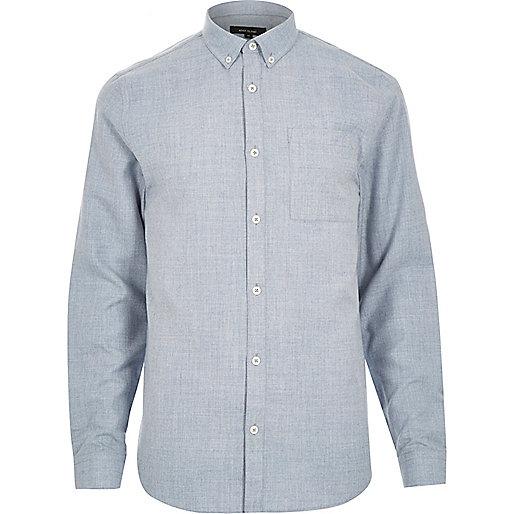 Blue flannel long sleeve slim shirt