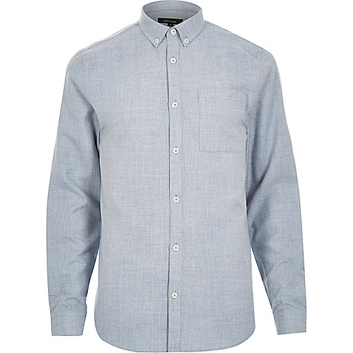 Blue flannel long sleeve slim shirt