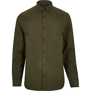 Green flannel long sleeve slim shirt