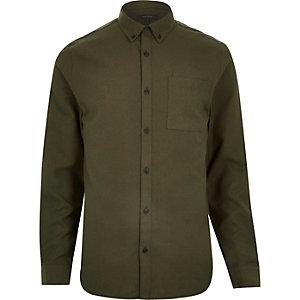 Chemise en flanelle verte à manches longues coupe cintrée