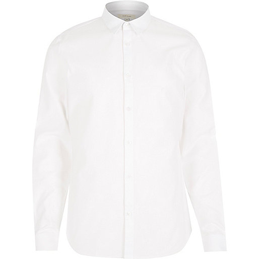White textured slim fit shirt