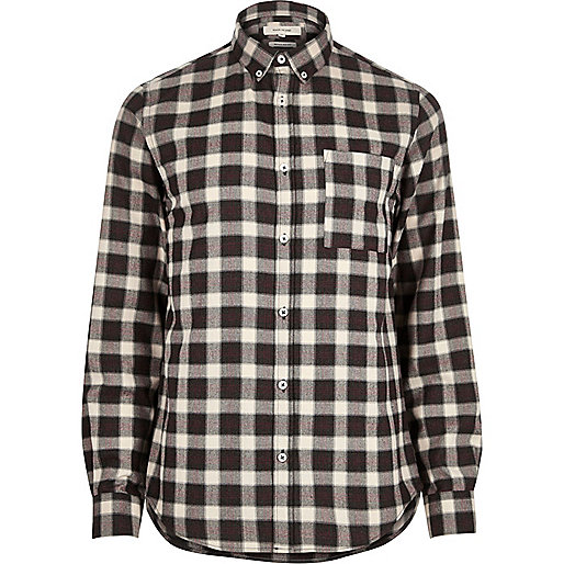 Brown check soft flannel shirt