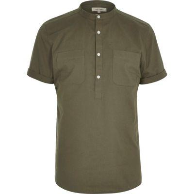 Kakigroen overhemd met korte mouwen