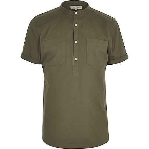 Khaki green over head short sleeve shirt