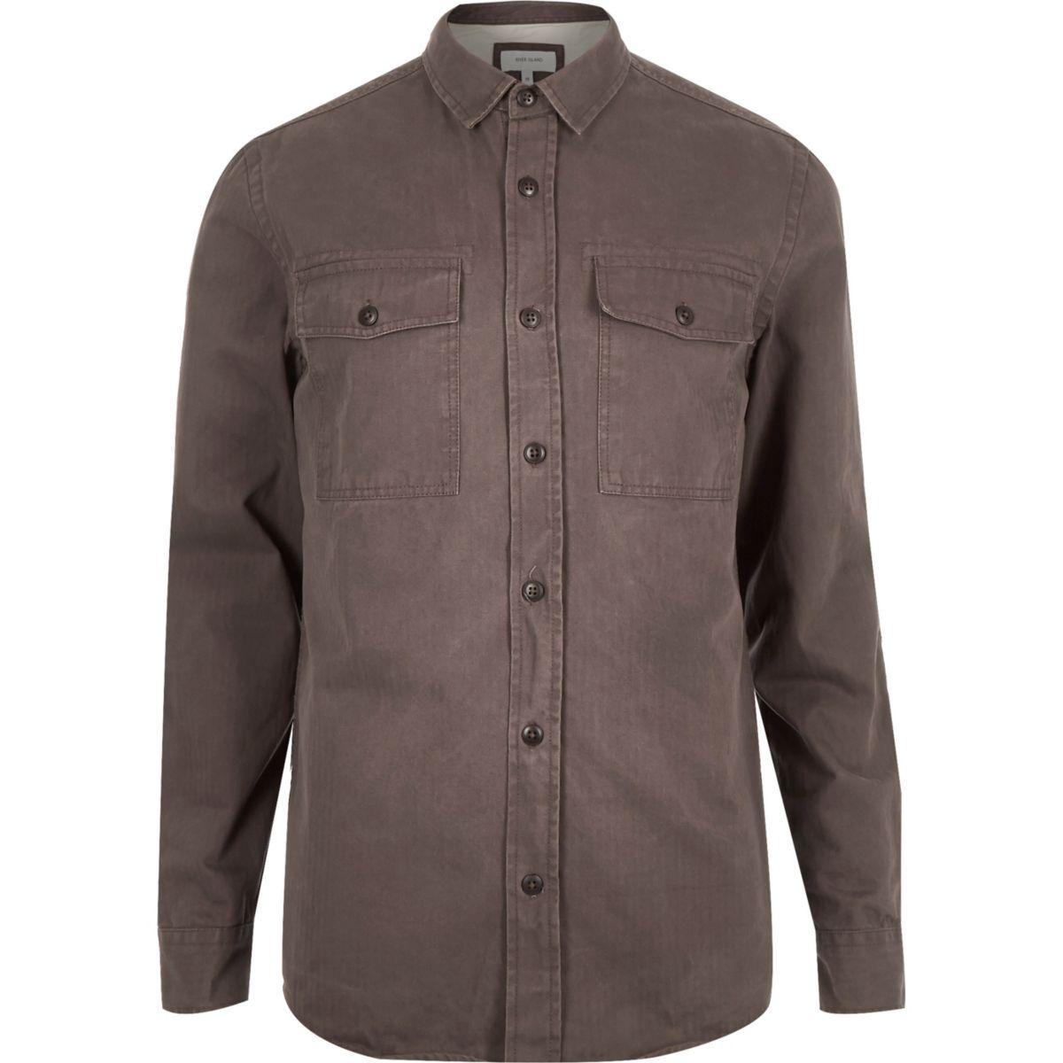 Brown herringbone utility overshirt