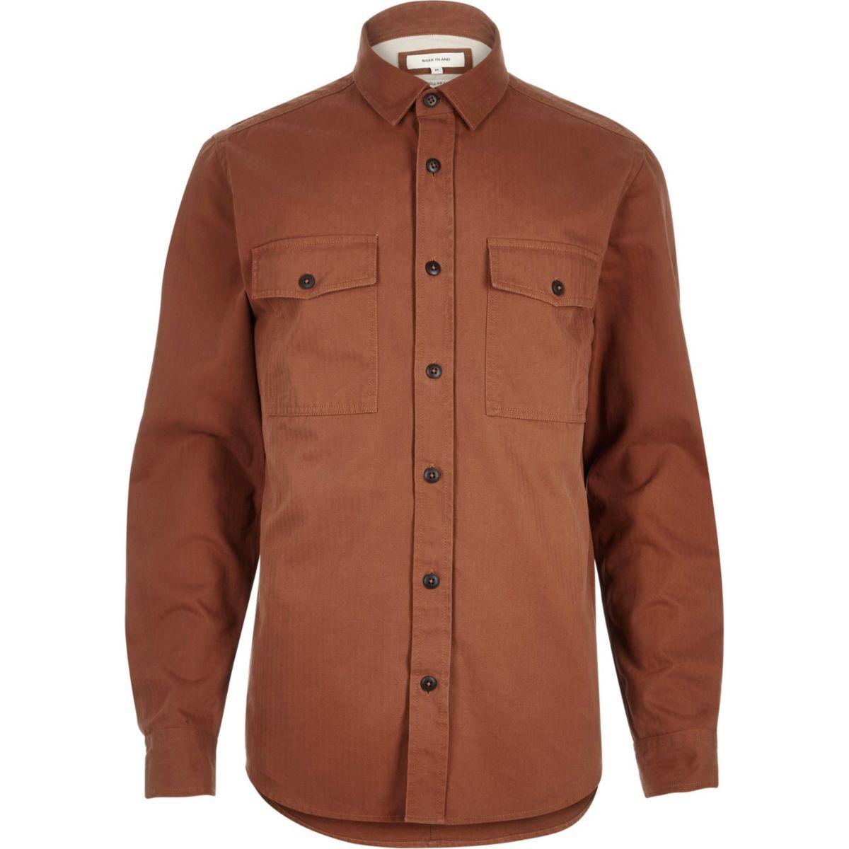 Orange herringbone utility overshirt