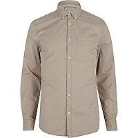 Ecru twill button-down shirt
