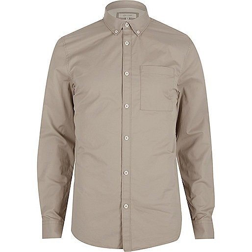 Ecru twill button-down shirt