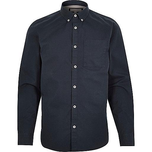 Navy twill button-down shirt