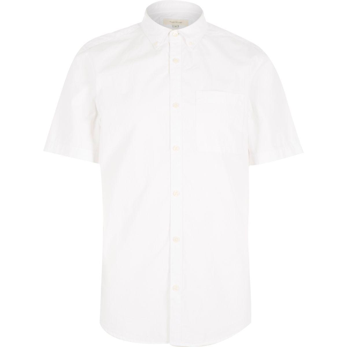White twill short sleeve shirt
