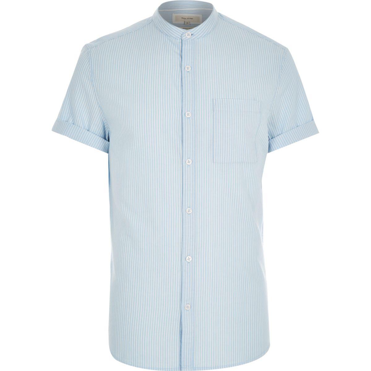 Blue stripe short sleeve grandad shirt