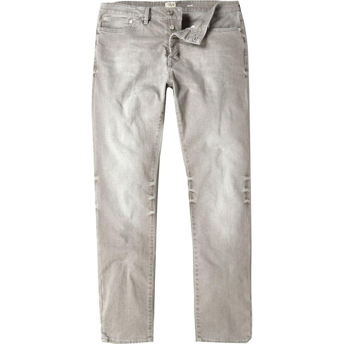 Worn grey Dylan slim fit jeans
