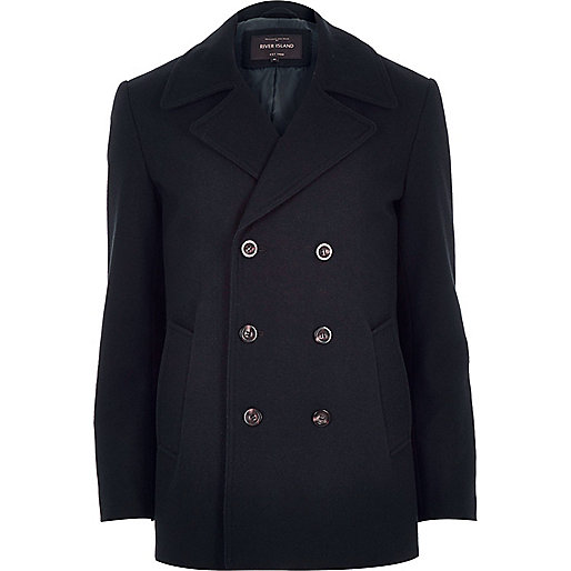 Navy smart wool-blend pea coat