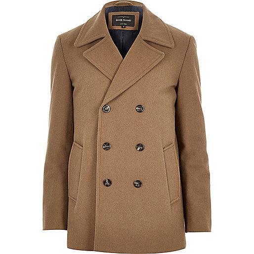Brown smart wool-blend pea coat