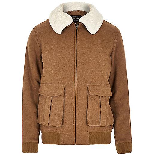 Brown wool-blend harrington jacket