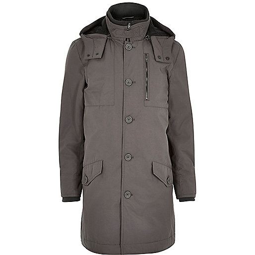 Grey casual long parka jacket